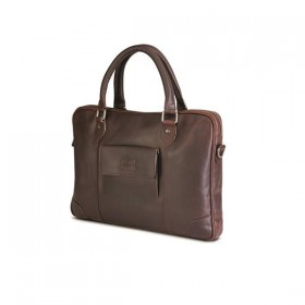 Brando Silviano Leather Bailhandle Laptop Bag 15""