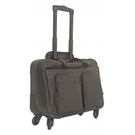 Gino De Vinci Colombia Leather Laptop Trolley 15""